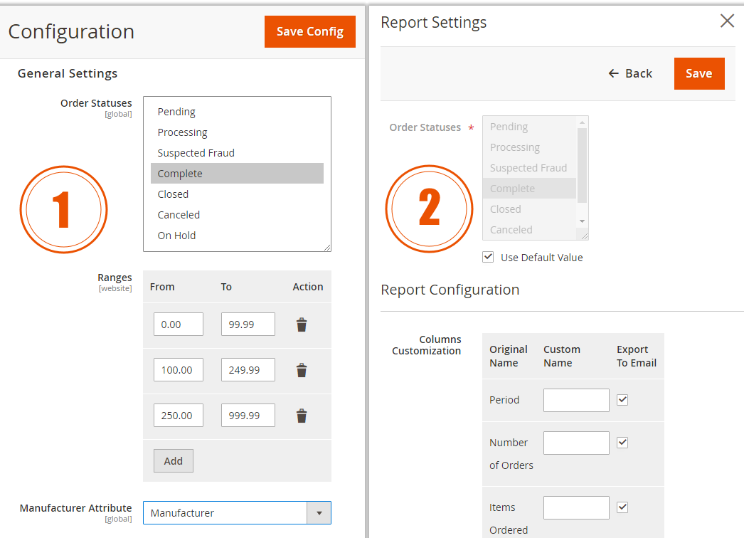 Advanced Reports for Magento 2. Elements Configurations