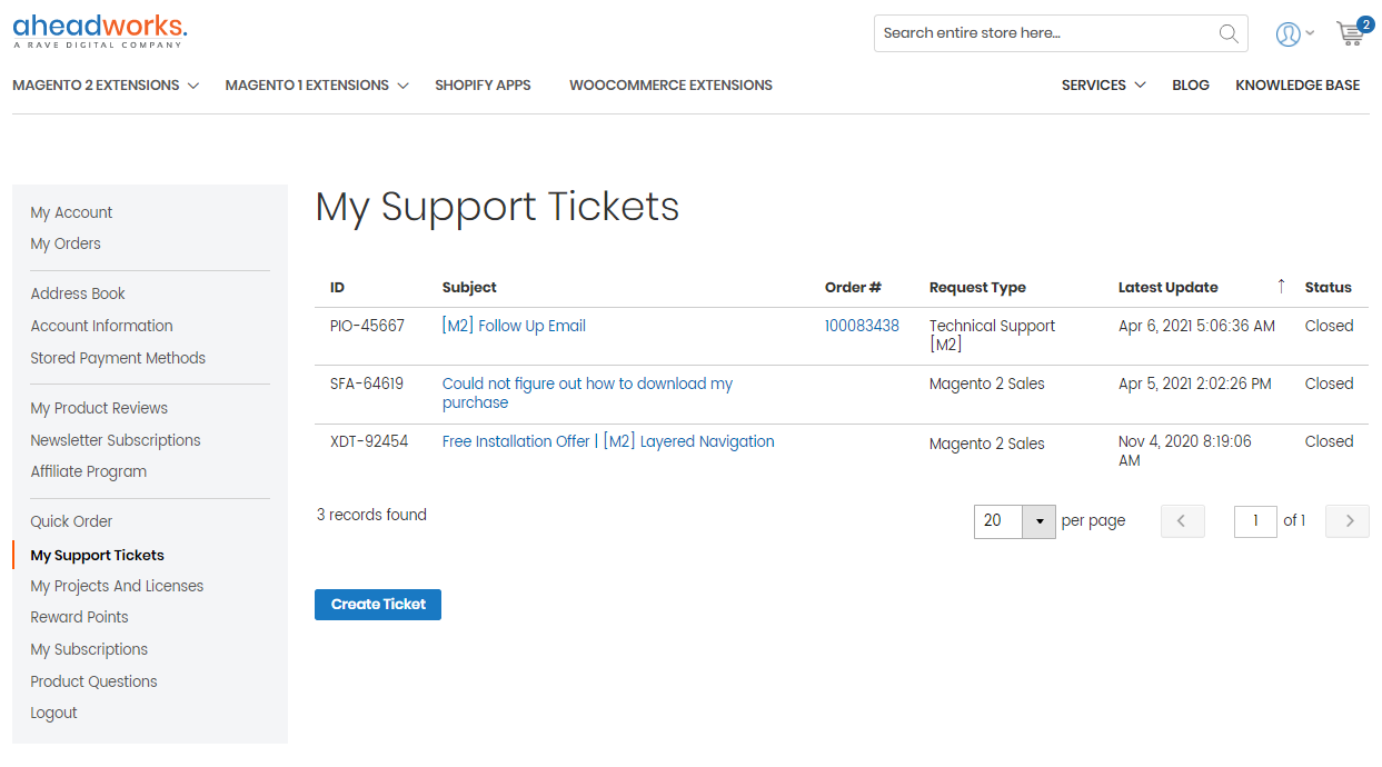 My Support Tickets section